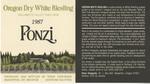 Ponzi Vineyards 1987 Willamette Valley Dry White Riesling Wine Label by Ponzi Vineyards