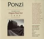 Ponzi Vineyards 1990 Willamette Valley Pinot Noir Reserve Wine Label