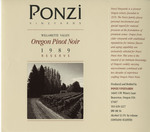 Ponzi Vineyards 1989 Reserve Willamette Valley Pinot Noir Wine Label