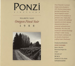 Ponzi Vineyards 1988 Willamette Valley Pinot Noir Wine Label by Ponzi Vineyards