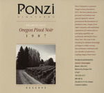 Ponzi Vineyards 1987 Reserve Willamette Valley Pinot Noir Wine Label by Ponzi Vineyards