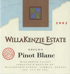WillaKenzie Estate 2006 Willamette Valley Pinot Blanc Wine Label