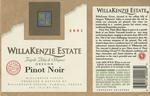 WillaKenzie Estate 2001 Willamette Valley Pinot Noir Wine Label