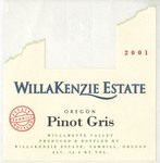 WillaKenzie Estate 2001 Willamette Valley Pinot Gris Wine Label