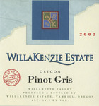 WillaKenzie Estate 2003 Willamette Valley Pinot Gris Wine Label by WillaKenzie Estate
