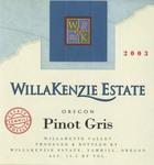 WillaKenzie Estate 2003 Willamette Valley Pinot Gris Wine Label