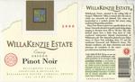 WillaKenzie Estate 2000 Willamette Valley Pinot Noir Wine Label